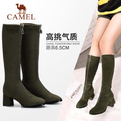 camel/骆驼女鞋 秋冬新款 简约舒适高跟长靴女 易穿脱拉链高筒靴子