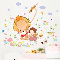 创意客厅电视墙贴纸女孩卧室儿童房间装饰品浪漫温馨墙贴画可移除1