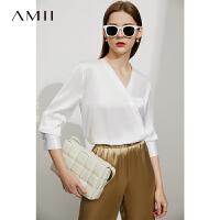 【2件3折365元,再叠90/70/30元礼券】Amii极简法式桑蚕丝真丝衬衫女2021夏季新款气质白色衬衣V领上衣