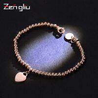 韩版爱心情侣手链 女镀18K玫瑰金圆珠链简约个性潮人心形手环饰品