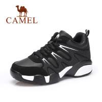 camel 骆驼女鞋 新款日常简约黑白运动鞋时尚复古系带女鞋
