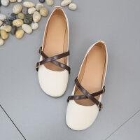 女春夏季新款百搭平底浅口单鞋系鞋学生 米白色 偏小半码