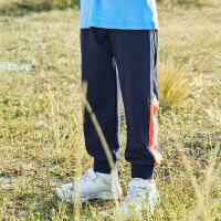【2件7折到手价:117】小猪班纳童装男童2021年新款棉混纺撞色拼接潮流针织束脚裤ins风