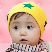 Yinbeler婴儿帽子秋冬款3-6-12个月男女宝宝春秋季套头帽圆顶胎帽星星胎帽