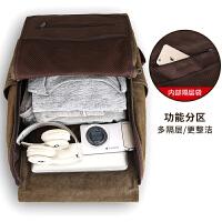 新款双肩包男士帆布背包时尚韩版学生书包运动旅行包电脑包 复古军绿