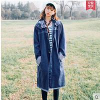 新款韩版时尚宽松长袖毛边中长款印花牛仔外套连帽风衣女学生