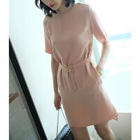 短袖开叉30姆米重磅桑蚕丝连衣裙中长款系带收腰肩章女裙夏新款YS01 粉色 X