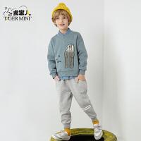 小虎宝儿男童套装2107秋冬新款儿童加绒加厚运动装中大童两件套潮