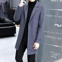 风衣男中长款韩版男士风衣2018新款羊毛呢子大衣男毛呢外套RG男装