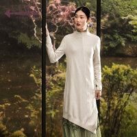 生活在左2018新款秋季女士复古文艺长袖羊绒针织连衣裙修身长裙