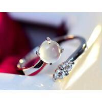 大方高贵优雅女韩版时尚食指925银饰精致牢固耐用天然葡萄石水晶开口戒指