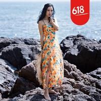原创海滩裙沙滩裙海边度假波西米亚长裙开叉大露背雪纺印花吊带连衣裙GH032 黄色