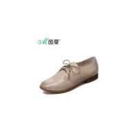 茵曼女鞋春新款英伦学院风小皮鞋牛皮系带时尚休闲单鞋【4863013001】