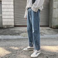 2018秋季新款纯色直筒卷边水洗牛仔裤子男士青年潮流韩版休闲长裤
