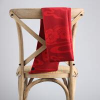 大红围巾定制logo刺绣中国红色围巾活动开业年会礼品同学聚会印字