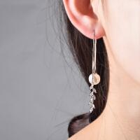 珍珠耳坠吊坠耳环女气质长款个性叶花瓣