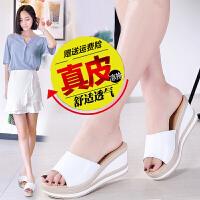 明星同款女鞋 真皮小�a坡跟底休�e�n版�鐾闲�女鞋夏季流行仙女�L
