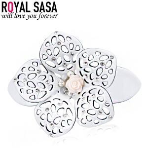 皇家莎莎RoyalSaSa 头饰韩国时尚饰品发卡 亚克力水钻横夹发夹发饰 珠花镂瓣