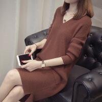 中�L款毛衣女套�^ 秋冬新款��松�n版�W�tV�I加厚��打底衫�B衣裙