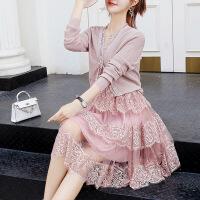 秋季连衣裙女长袖2018新款 韩版早秋套装裙 矮个子 时髦针织裙