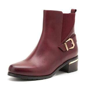 【3折到手价149.7元】菲伯丽尔Fondberyl小牛皮圆头中跟时尚纯色短靴女鞋FB54117427