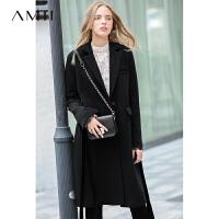 【到手价:462元】Amii极简韩版chic英伦风毛呢外套2018冬新款蕾丝拼接直筒中长大衣