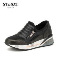 星期六(ST&SAT) 牛皮/弹力布平跟圆头休闲单鞋SS63112268 黑色