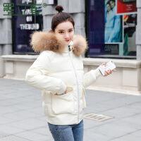 羽绒女短款2018新款韩版修身小个子棉袄外套加厚冬面包服棉衣 米白色 M