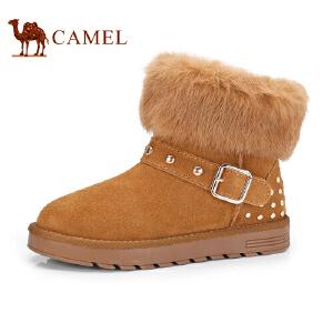 骆驼牌 女鞋 新品磨砂牛皮保暖雪地靴女靴时尚耐磨防滑靴子