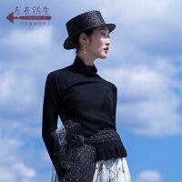 生活在左2018秋季新款女装长袖风高领纯羊毛针织衫套头毛衣短款