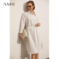 【1件8折288元】Amii极简可盐可甜蕾丝拼接白色连衣裙2021新款收腰A字衬衫裙子女
