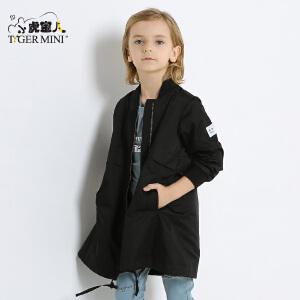 小虎宝儿童装男童中长款外套儿童休闲上衣韩版2018春款新品