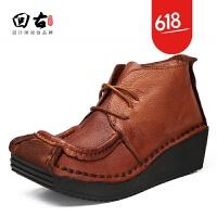 原创原创真皮女鞋秋冬新款英伦风复古舒适短靴系带头层牛皮马丁靴GH025
