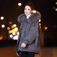 2018冬季新款加厚小款短款羽绒服女韩版宽松大毛领欧货小个子外套 灰色 S