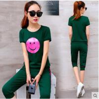 新款运动服套装时尚少女装韩版短袖长裤绿色两件套    可礼品卡支付