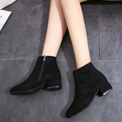 2019新款韩版小方头粗跟百搭短靴女夏磨砂女靴中跟春秋单靴女鞋