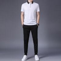 verhouse 男士休闲套装夏季新款薄款短袖上衣+长裤两件套时尚穿搭套裤