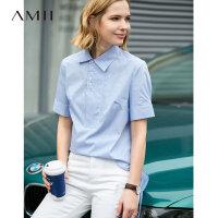 【预估价134元】Amii极简学生小清新衬衫女2019夏季新细条纹绑带高开衩短袖Polo衫