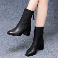 粗跟短靴女2019新款秋冬女靴加绒中筒靴中跟女鞋后拉链马丁靴 黑色绒里5.5CM 089-1