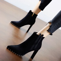高跟鞋女粗跟2019新款百搭裸靴春秋款英伦短靴冬季�C�C马丁靴加绒 黑色 加绒