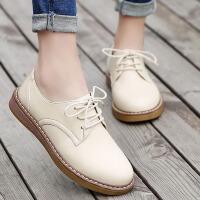 白领公社 休闲鞋 女士春季新款时尚英伦百搭尖头浅口皮鞋女式单色系带复古平底学生小白鞋子.