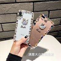 奢华水钻天鹅iphone6s手机壳潮女苹果x软壳7plus亚克力8p外壳新