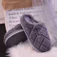 情侣棉拖鞋女冬季室内软底保暖居家用韩版月子鞋毛毛拖鞋男冬