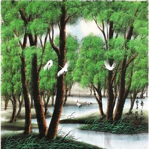 田默馨《鹤舞春风》著名画家