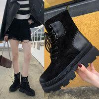 马丁靴女2019新款 百搭秋季粗跟中跟绒面短靴女时尚圆头马丁靴女 黑色