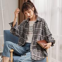【2件1折49.9元】唐狮冬新款格子衬衫女士韩版长袖宽松衬衣ins格子衫外套上衣