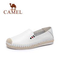 Camel/骆驼女鞋 春季新款乐福鞋女单鞋小白鞋纯色鞋子韩版