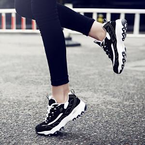 【满100减50/满200减100】奇安达2017新款经典女士黑银跑步鞋休闲增高熊猫鞋