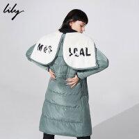Lily2018冬新款女装收腰及膝长款加厚字母绣花羽绒服118420D1534