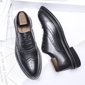 宜驰 EGCHI 商务休闲鞋布洛克男士耐磨皮鞋子男鞋 25022